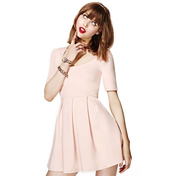 Minkpink Fit & Flare Nude Blush Pink A-Line Dress